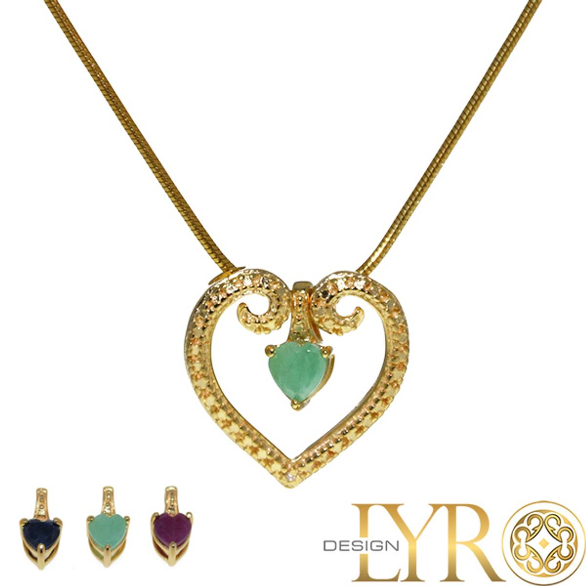 Hjerte med Utskiftbare Edelstener - Gullbelagt Sølv